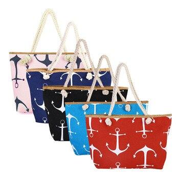 2020 new women's travel beach bag anchor canvas Korean trend printing casual cotton rope handbag rope canvas print beach bag