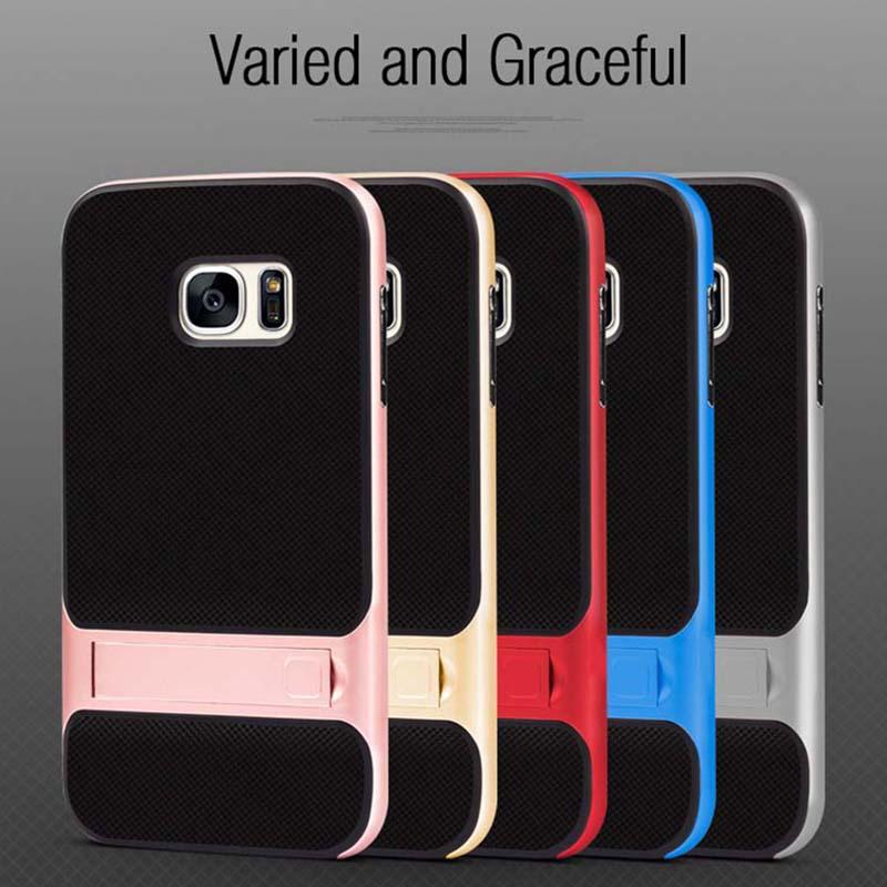 Marka Yeni 3D Hibrid Vaka Samsung Galaxy S7 Kickstand Silikon Kapak - Cep Telefonu Yedek Parça ve Aksesuarları - Fotoğraf 3