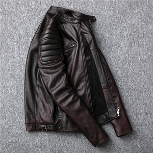 Image 5 - משלוח חינם, מותג בציר אמיתי עור מעיל. mens חום מנוע biker עור פרה מעיל. רזה בתוספת גודל מעילים. להאריך ימים יותר מכירות