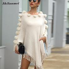 2019 Winter Spring Sweaters Ponchoes White Fashion Knitting Capes Cloak Irregular Tassels Pullovers Knitted Streetwear Sweater