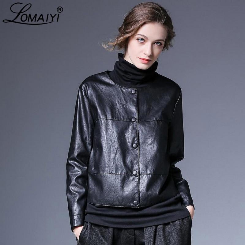 LOMAIYI Women's Spring/Autumn Leather Jacket Women Black/Red Coat Short Leather Jackets Office Ladies PU Leather Jacket BW056