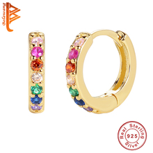 100% 925 Sterling Silver Small Rainbow Hoop Earrings With 18k Gold Plated Classic 0.7cm Huggies Earrings For Women Party Gift
