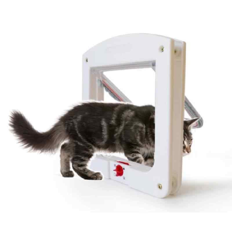 애완 동물 고양이 강아지 개 게이츠 도어 잠글 수있는 안전 플랩 도어 애완 동물 안전 제품 잠금 모든 벽 또는 문에 적합 흰색 갈색 색상