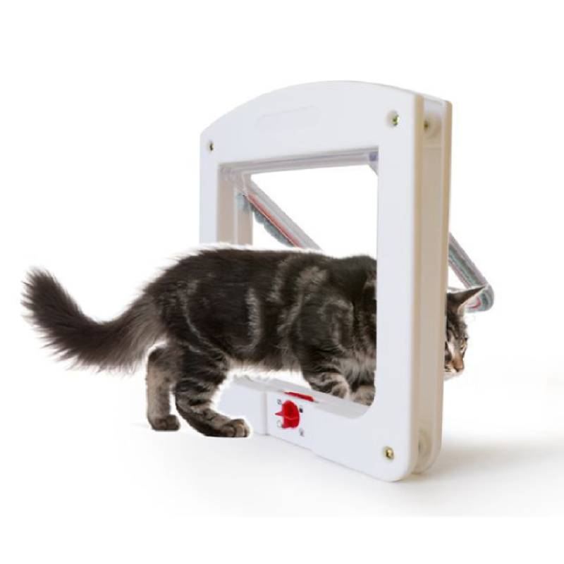 Pet Cat Puppy Dog Gates Door Lockable Safe Flap Door Pet Safety Products Lock Suitable For Any Wall Or Doors White Brown Colors