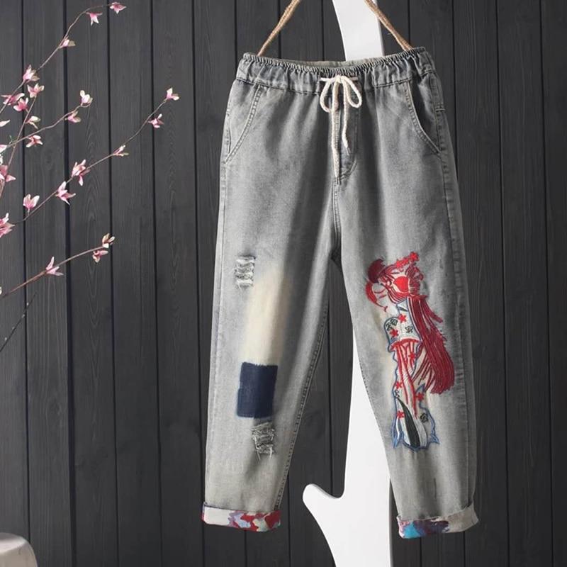 New Summer Arts Style Women's Jean Capri Pants Elastic Waist Vintage Ripped Jeans Cotton Denim Embroidery Loose Jeans S492