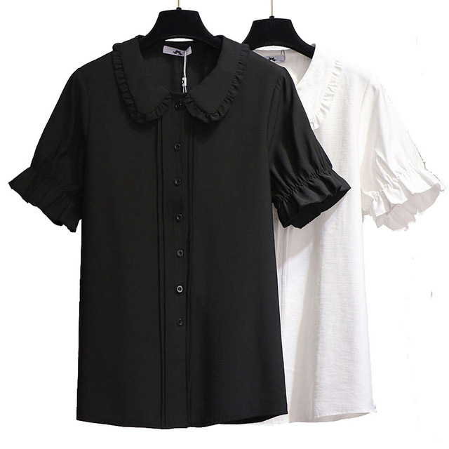 Plus Size Blouse for Women 4xl 5xl 6xl Summer 2020 New Casual White Black Doll Collar Short Sleeve Ruffled Chiffon Shirt 1