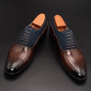 Image 2 - الرجال فستان أحذية جلدية مكتب الأعمال الزفاف اليدوية مختلط اللون البروغ الرسمي جولة تو أكسفورد أحذية رجالي