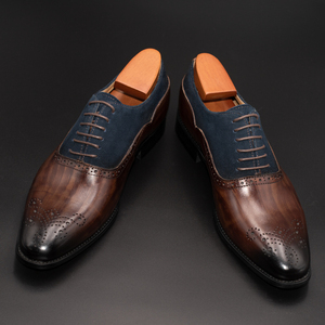 Image 2 - Men Dress Shoes Leather Office Business Wedding Handmade Mixed Color Brogue Formal Round Toe Oxford Mens Shoe
