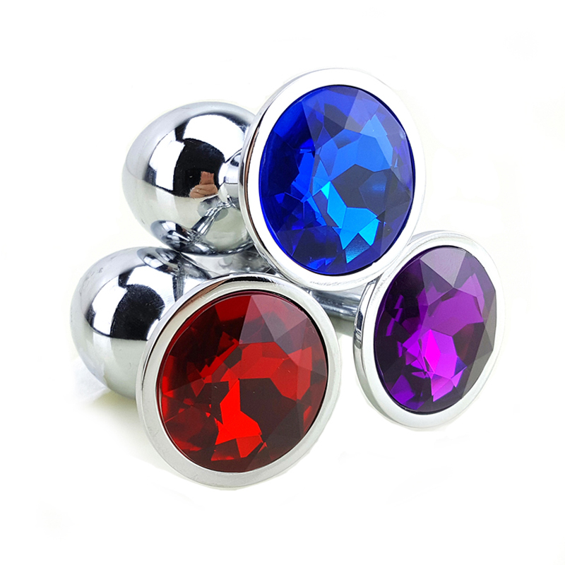 12 Colors Metal Anal Sex Toys For Women & Men,  Anal Butt Plugs + Crystal Jewelry, Booty Beads,Anal Tube, Sex Products