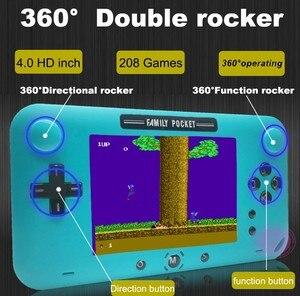 Image 5 - רטרו fc מובנה 208 משחק 1000mAh סוללה רטרו וידאו כף יד קונסולת משחקי 4.0 אינץ HD LCD 360 ° כפול שליטת ג ויסטיק משחק c