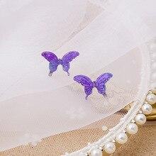 Korean Fairy Purple Gradient Butterfly Earrings for Women Female Sweet Clear Resin Statement Fashion Party Jewelry