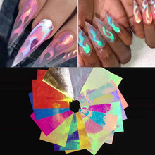 32PCS Nail Art Nail Sticker Nails Sticker Art transfer Foil Flame Reflections Adhesive Foils DIY Decoration слайдеры для ногтей