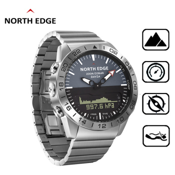 NORTH EDGE Wristwatches Sports 10Bars Waterproof Stainless Steel Men Watches Diving