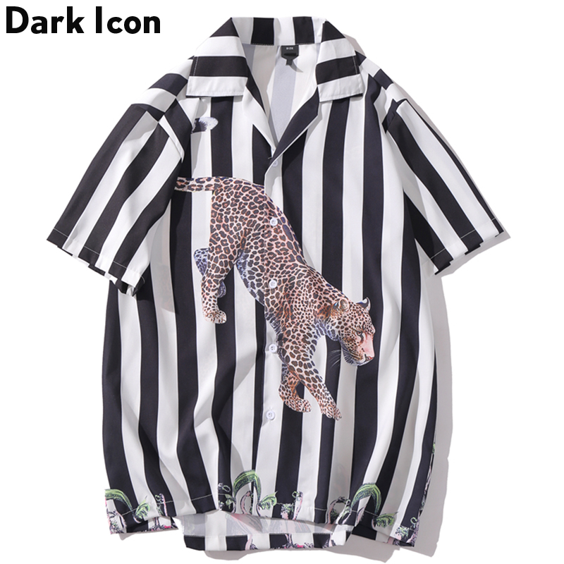 Dark Icon Leopard Printed Hip Hop <font><b>Shirt</b></font> <font><b>Men</b></font> New Fashion Black <font><b>Stripe</b></font> <font><b>Shirts</b></font> <font><b>Short</b></font> <font><b>Sleeve</b></font> <font><b>Men's</b></font> Tops image
