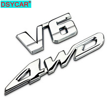 DSYCAR 1Set 3D Metall V6 4WD Auto Seiten Fender Hinten Stamm Emblem Abzeichen Aufkleber Decals für Highlander Auto Zubehör dekorationen