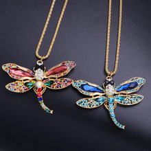 New Animal Dragonfly Necklace 2021 Creative Color Pearl Gold Pendant