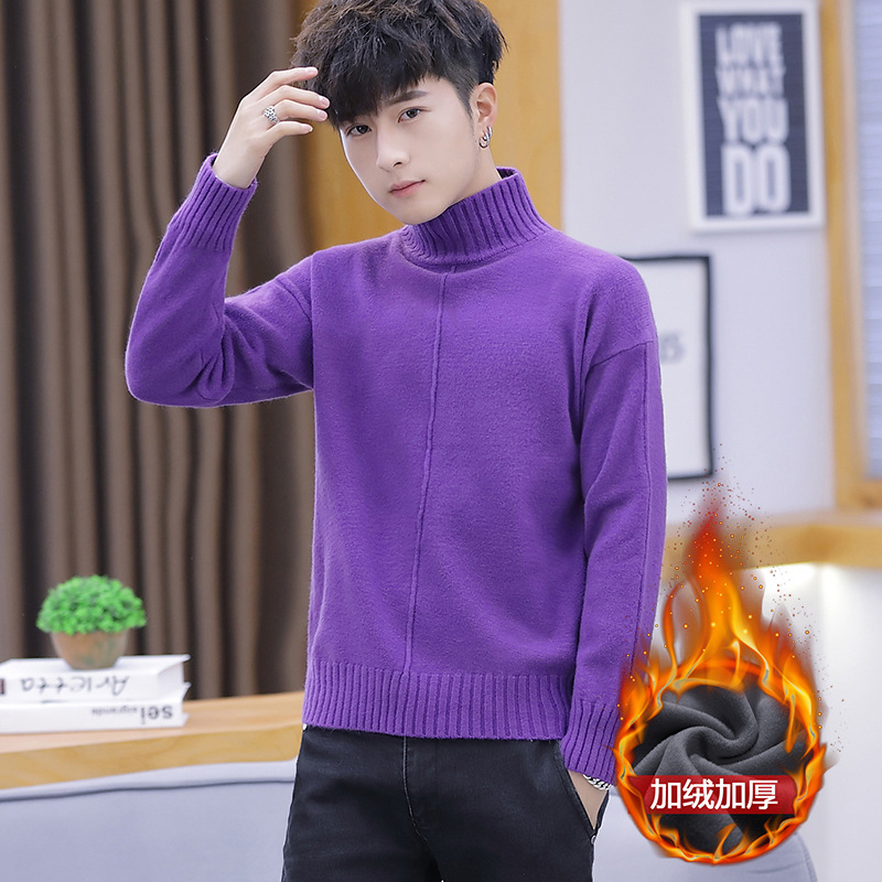 White Red New Mens Sweaters Purple Khaki Black Royal Blue Winter Casual Long Sleeve Set Turtleneck Pullovers Casual Sweater Men