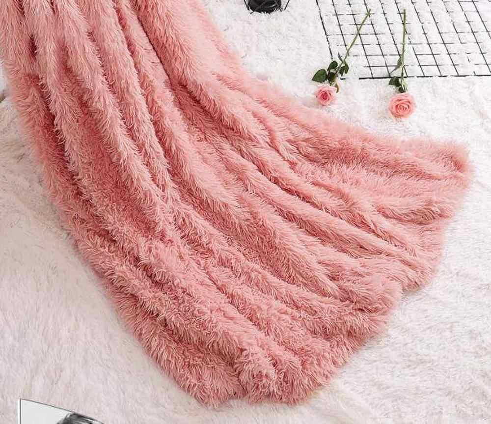 Lüks Uzun Peluş Battaniye Bulanık Kürk Pazen Shaggy Kapak Battaniye Yatak Örtüsü Polar Süper Yumuşak Sıcak Atar Yatak Kanepe seyahat