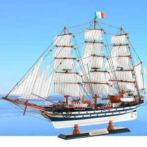 Средиземноморский стиль деревянная модель парусника украшение Имитация твердой древесины украшение лодки Гладкий парусный корабль подар...