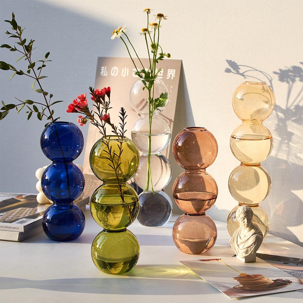 Vaso de vidro decoração para casa vasos de flores para casas moderna decoração de mesa sala estar terrário decoração nordic vaso presentes