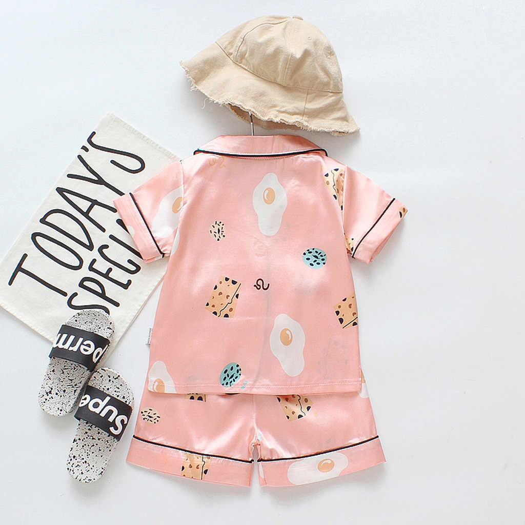 เด็กวัยหัดเดินเด็กชุดนอนเด็กผู้หญิงชุดนอนการ์ตูน T เสื้อกางเกงขาสั้นชุดเสื้อผ้าแขนสั้น turn-down คอ pijama infantil