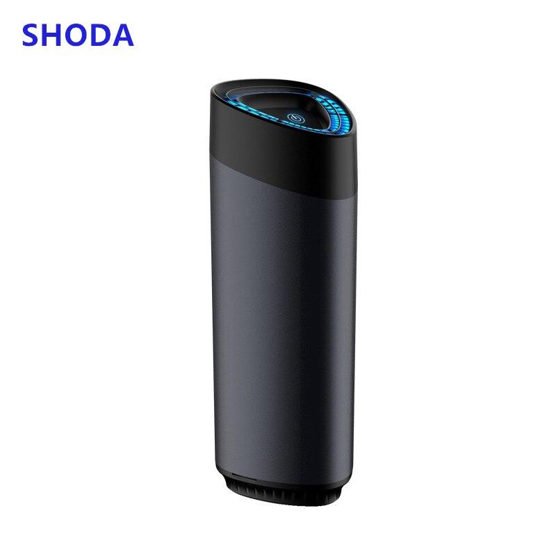 SHODA purificador de aire del coche limpiador de aire con filtro de iones negativos Hepa fresco portátil USB aleación de aluminio diseño purificador de iones del coche