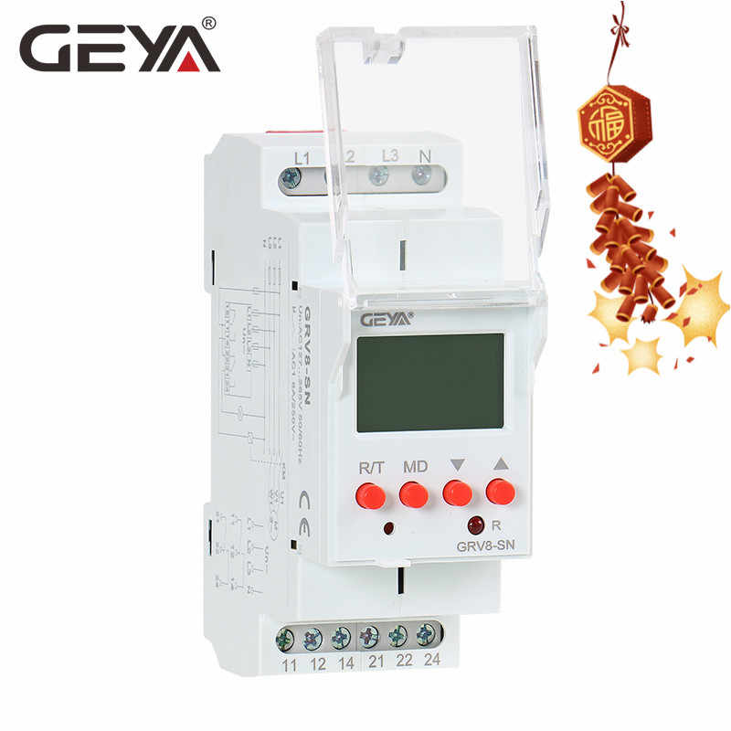 Geya GRV8-S Lcd Digitale Display Voltage Relais 8A 2 Spdt Monitoring Fasevolgorderelais
