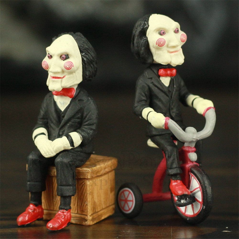 Classic Horror Film Saw Billy Jigsaw 5cm Figure With Bike Box Phone Bag Key Chain Movie Model Toys Figurine Doll