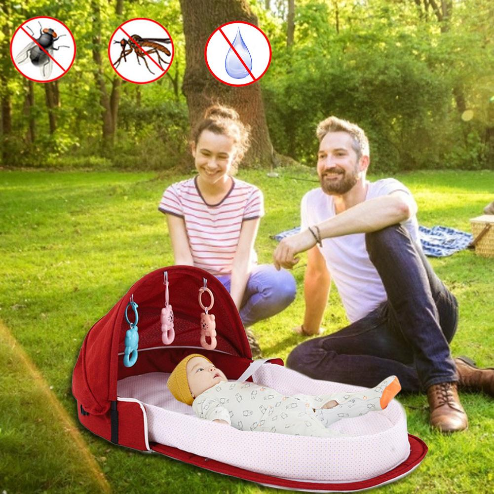 Portable Bionic Baby Crib Baby Safety Isolation Bed Multi-function BB Outdoor Folding Bed Travel Cradle With Mosquito Net