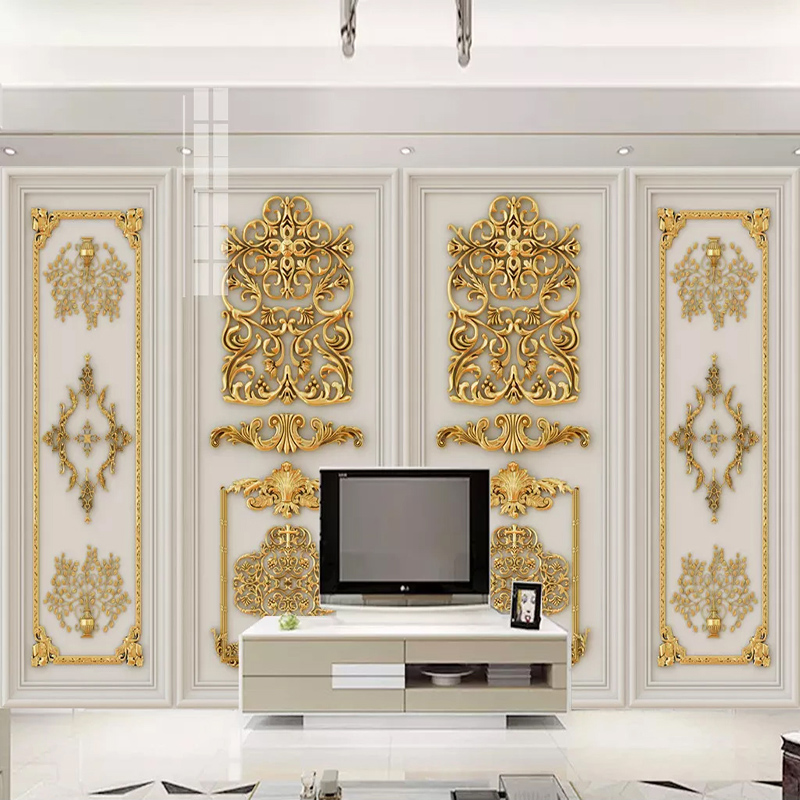 Custom 3D Wallpaper Murals Luxury 3D Stereoscopic Golden Embossed Flowers European Style Living Room TV Background Wall Mural