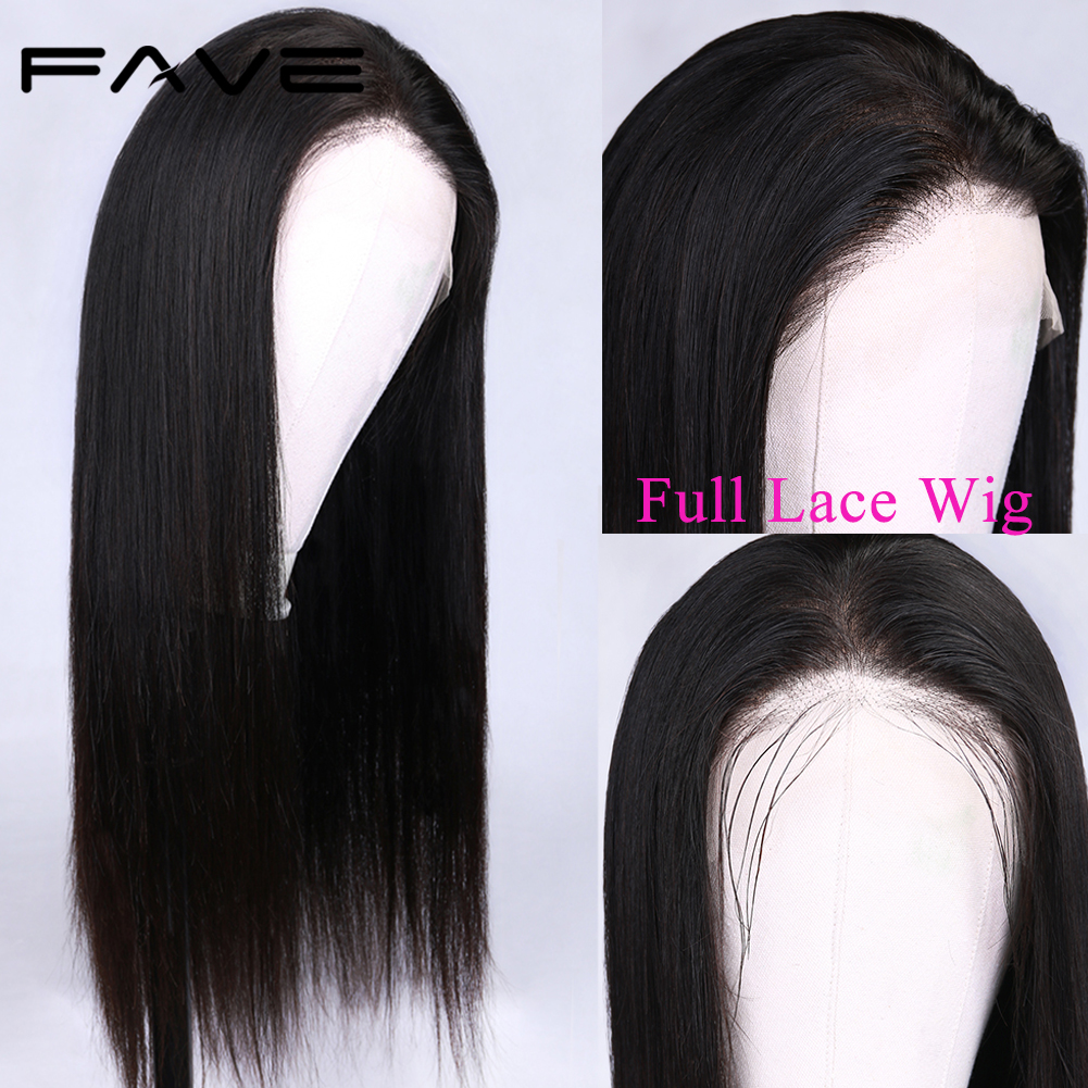 FAVE Pre Plucked Full Lace Human Hair Wigs With Baby Hair 150% DensityStraight Brazilian Remy Lace Wig Braided Glueless Lace Wig