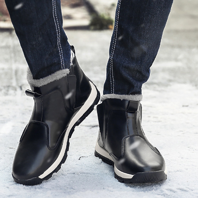 Men's Snow Boots Leather Platform Winter Shoes Men Rubber Boots For Male Plus Size 46-48 Keep Warm Non Slip Waterproof Boot Man
