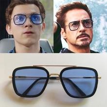 Lentes Tony Stark Sunglasses Kids Metal Square Vintage iron Man 2019 Girls And Boys 6-14 years old Children Sun Glasses gafas