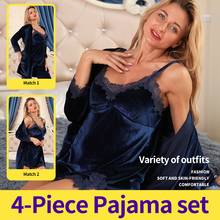 Women's Pajamas Nightwear Bathrobe Sleepwear Wear-Suit Dormir-Tops Winter Warm Home 4pcs