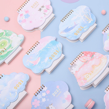 2021 Wall Table Calendar Cute Cat cartoon Mini Portable Weekly Planner Monthly Plan To Do List Daily Desktop Pocket Calendar 2021 table calendar simplicity agenda planner weekly monthly to do list desktop paper calendars office stationery supplies