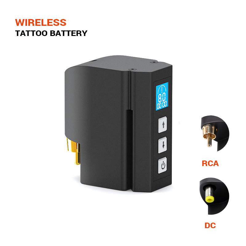 Solong New Wireless Tattoo Power Supply DC & RCA Interface 2400mAH Lithium Battery Tattoo Machine Tattoo Supplies P198