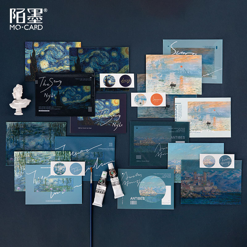 4 Pcs/pack Van Gogh Starry Sky Translucent Envelope Message Card Letter Greeting Card Stationary Storage Paper Gift