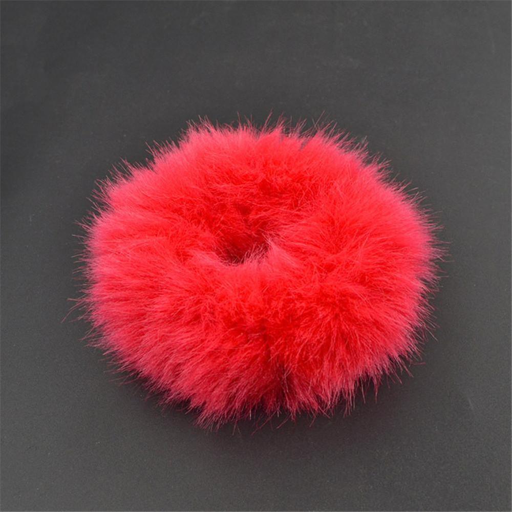 Мягкая Плюшевая повязка для волос резинки для волос натуральный мех кроличья шерсть мягкие эластичные резинки для волос для девочек однотонный цветной хвост резинки для волос для женщин - Цвет: 13