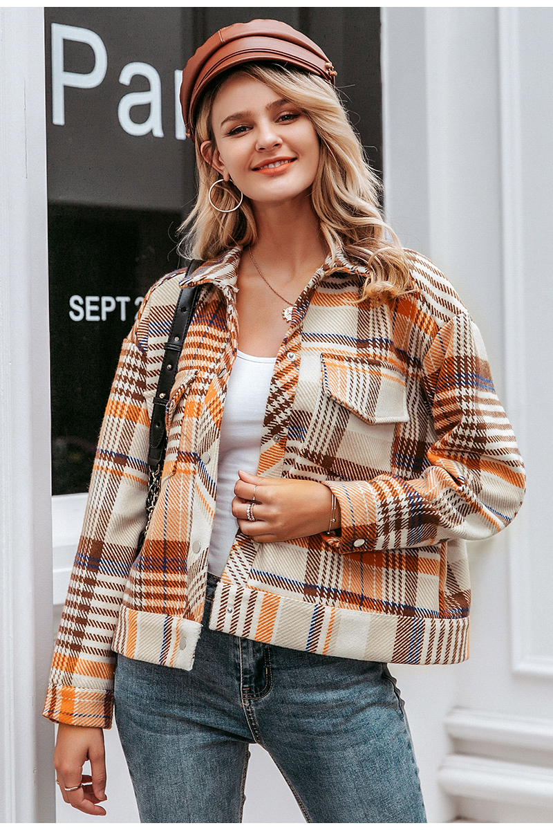 Simplee Single breasted women plaid jacket coat Long sleeve casual autumn outwear female coat Streetwear oversize ladies coat 7