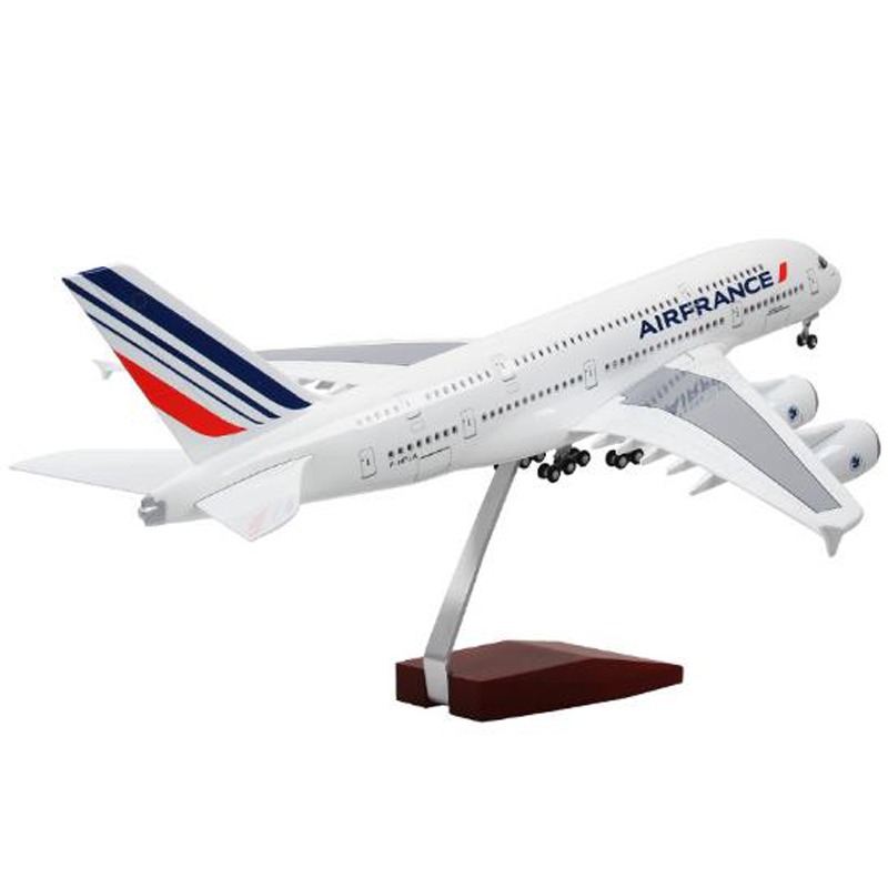 1/160 Scale 50cm Air France Airline <font><b>Model</b></font> Airplane <font><b>Airbus</b></font> <font><b>A380</b></font> Aircraft <font><b>Model</b></font> Resin Plane WIth Light and Wheels For Collection image