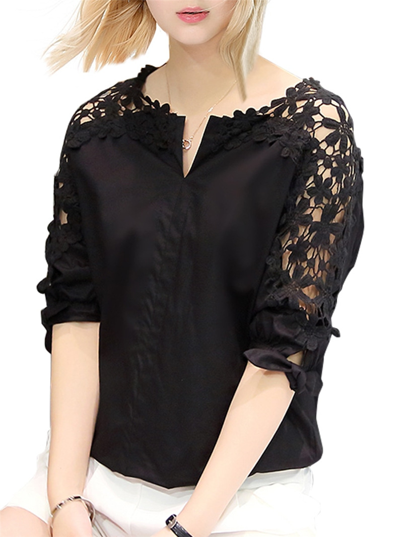 2019 Summer New Style Off-Shoulder Shirt Large Size Dress Loose-Fit Korean-style With Holes Tops Shirt Lace Base Shirt
