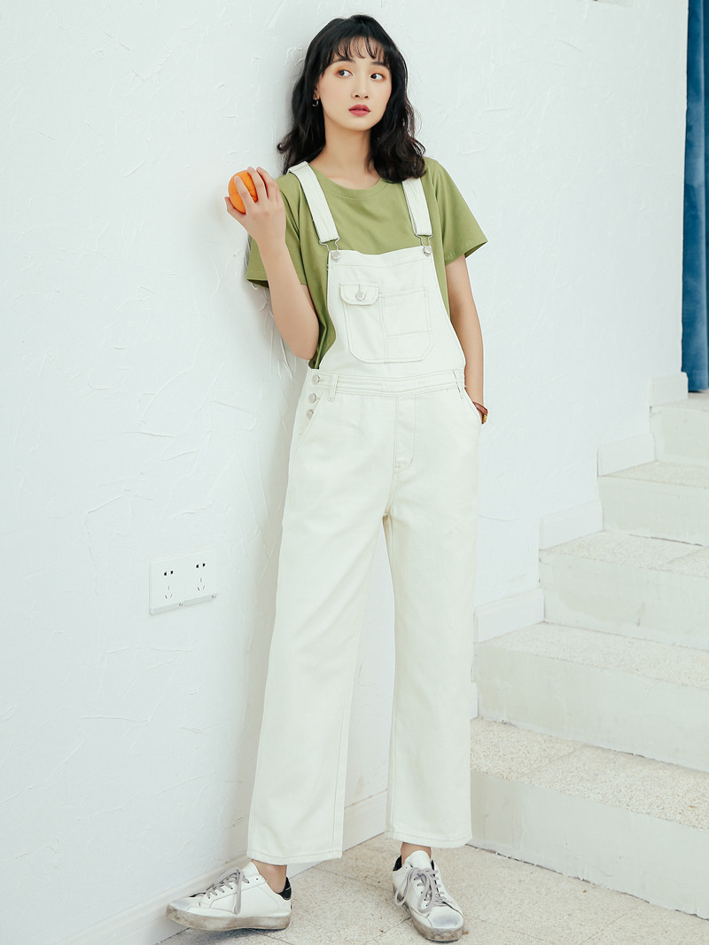 2019 Summer New Style Students Loose-Fit Versatile White Cowboy Suspender Pants Multi-pockets Romper