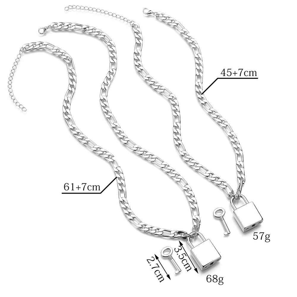 Hip Hop Punk Men Silver Metal Chain Lock Key Pendant Necklace Fashion Vintage Geometric Choker Necklaces for Women