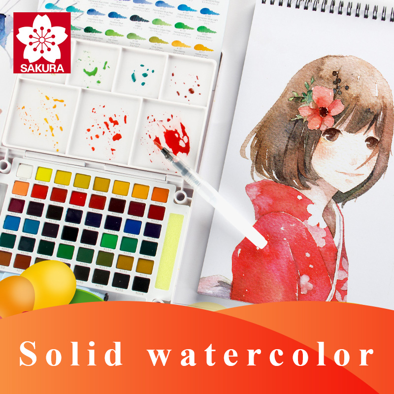 SAKURA Solid Watercolor Paint Set Pigment 12/18/24/30/36/48/60/72 Colors Lite/Hardcover Portable Drawing Brush Art Supplies