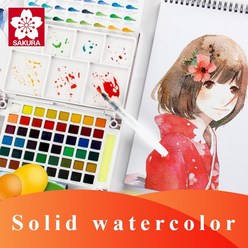 SAKURA Solid Watercolor Paint Set Pigment 12/18/24/30/36/48/60/72 Colors Lite/Hardcover Portable Drawing Brush Art Supplies