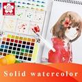 Sakura conjunto de pintura em aquarela, pigmento de 12/18/24/30/36/48/60/72 cores lite/capa dura portátil para desenho, escova, suprimentos de arte