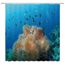 Декоративная занавеска для душа в виде рыбы морской анемон Актиния