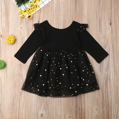 Kids Baby Flower Girls Party Sequins Dress Wedding Bridesmaid Dresses Ages 1-5Y Solid Color Sequined Long Sleeve Stitching Lahore