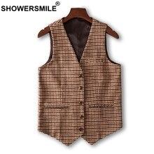 SHOWERSMILE Plaid Vest Men Tweed Waistcoat Houndstooth Camel Suit Gilet Male Slim Fit Autumn England Casual Clothing 2019