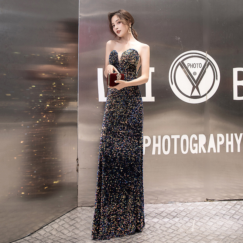 Stunning Evening Dresses Long Sexy Sweetheart Hot Colorful Sequins Prom Party Gowns 2020 New Corset Back For Pageant Birthday